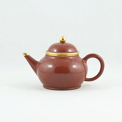 Yixing Gold Mounted Shuimo Polished Pear Shape Chinese Teapot