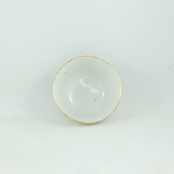 Early 20th Century White Porcelain Tea Cup With Gold Rim