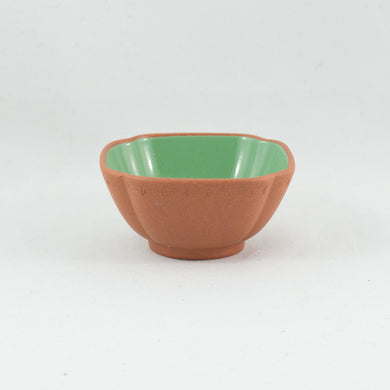 1980's Yixing Clay Green Glazed Petal Shape Tea Cup