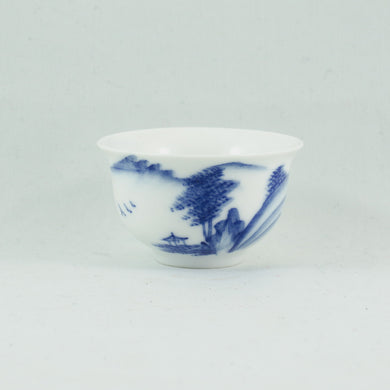 Small Porcelain Blue And White Landscape Tea Cup