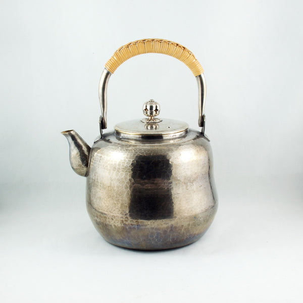Vintage Japanese Silver Plated Hammer Finished Teapot Kettle