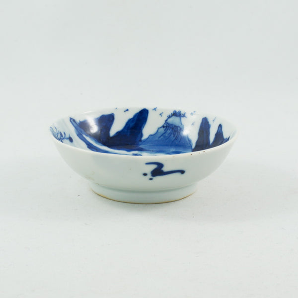 Antique Chinese Porcelain Blue and White Landscape Saucer #1