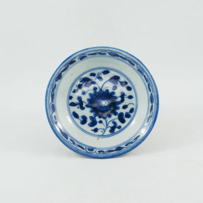Antique Chinese Porcelain Blue and White Flower Saucer