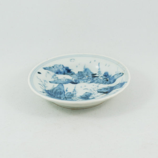 Antique Chinese Porcelain Blue and White Landscape Saucer #3