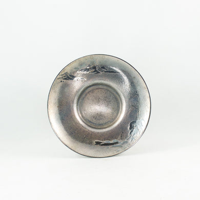 Silver on Copper Round Shape Landscape Saucer