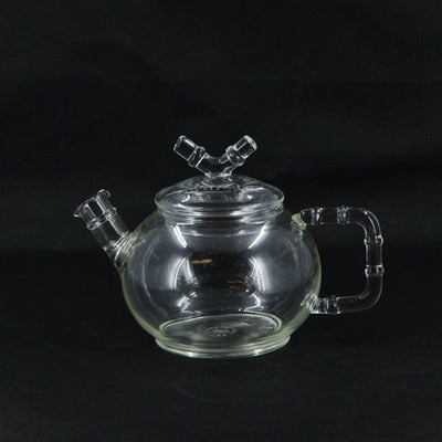 "Modern Large Glass ""Bamboo Design"" Teapot with Metal Strainer"