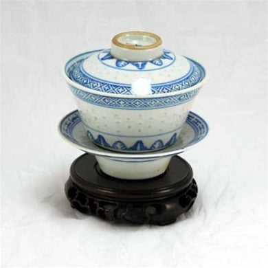 "1970s Blue and White Porcelain ""Rice Grain Pattern"" Hand-Painted Gaiwan"