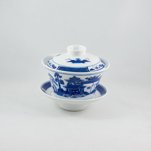1980s Blue and White Porcelain Hand-Painted Landscape Design Gaiwan