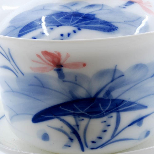 Modern Blue and White Porcelain Lotus Flower Design Gaiwan