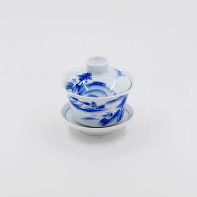 Miniature Blue and White Porcelain Landscape Design Gaiwan
