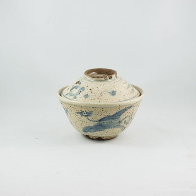 Vintage Blue and White Porcelain Phoenix Design Hand-Painted Gaiwan