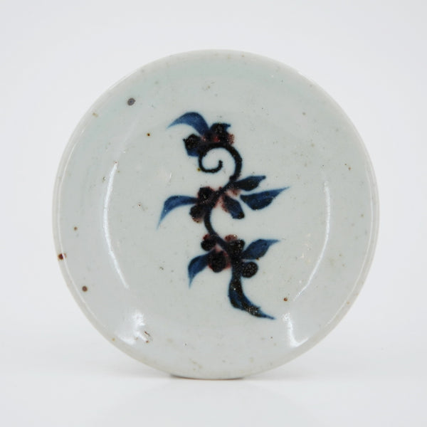 Handmade Wood Fired Chinese Antique Style Porcelain Blue Underglaze Red Peach Leaf Saucer