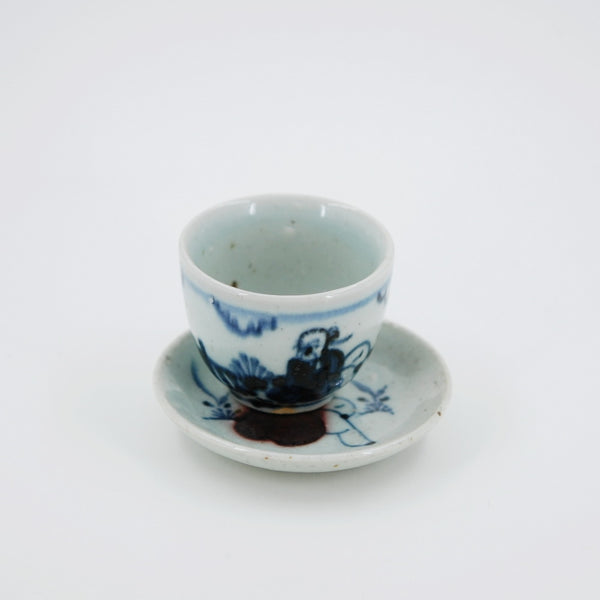 Handmade Wood Fired Chinese Antique Style Porcelain Blue Underglaze Red Old Man Saucer