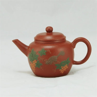 Yixing 1990's Zhuni Squirrel Painting  Chinese Teapot