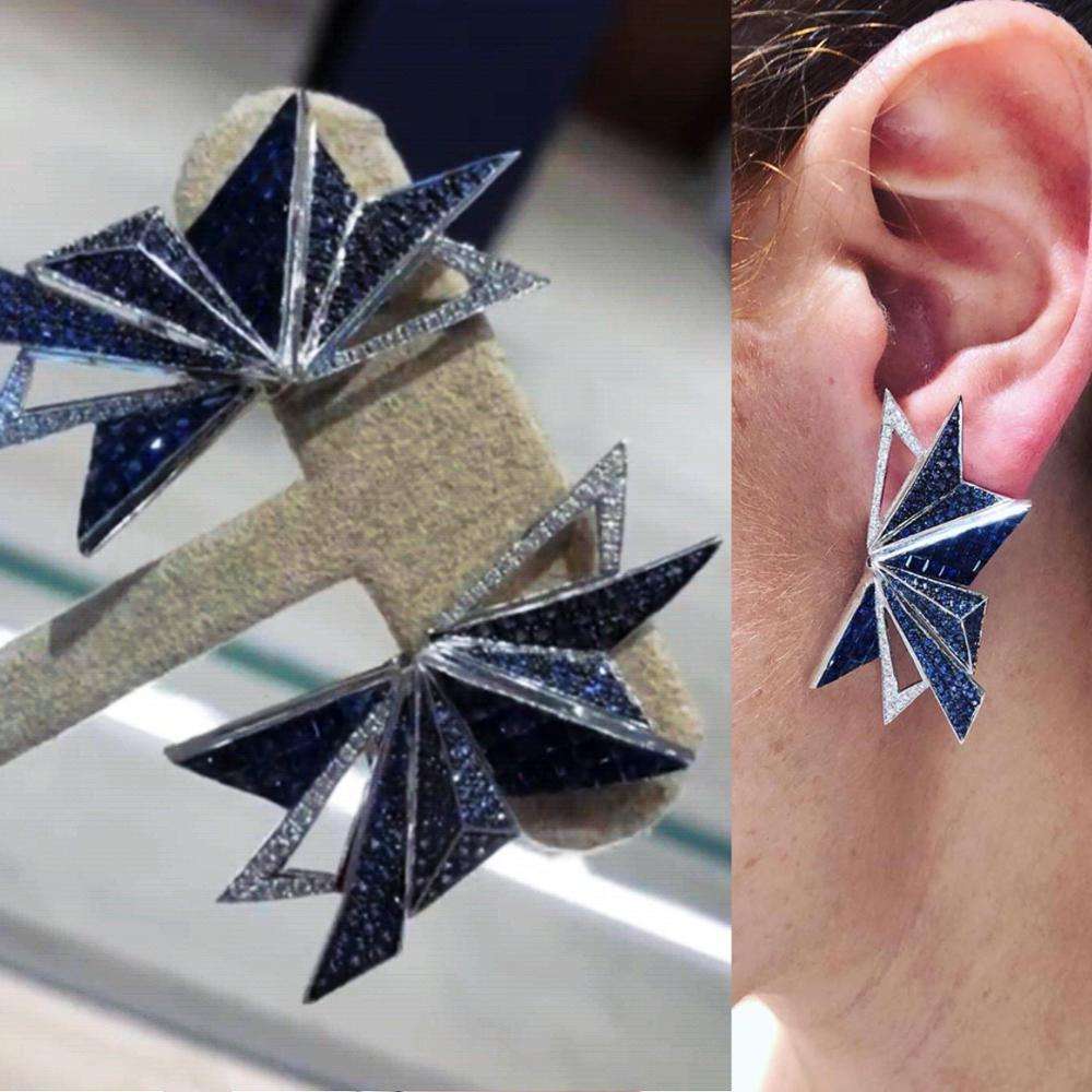 Angelina Polygon Earrings in Bold Blue