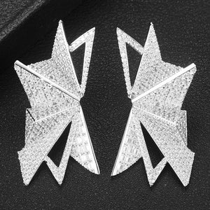 Angelina Polygon Earrings in Icy Silver