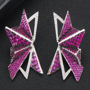 Angelina Polygon Earrings in Hot Pink