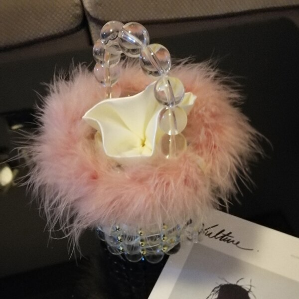 Cote D'azur Pink Transparent Faux Fur Pearl Bag