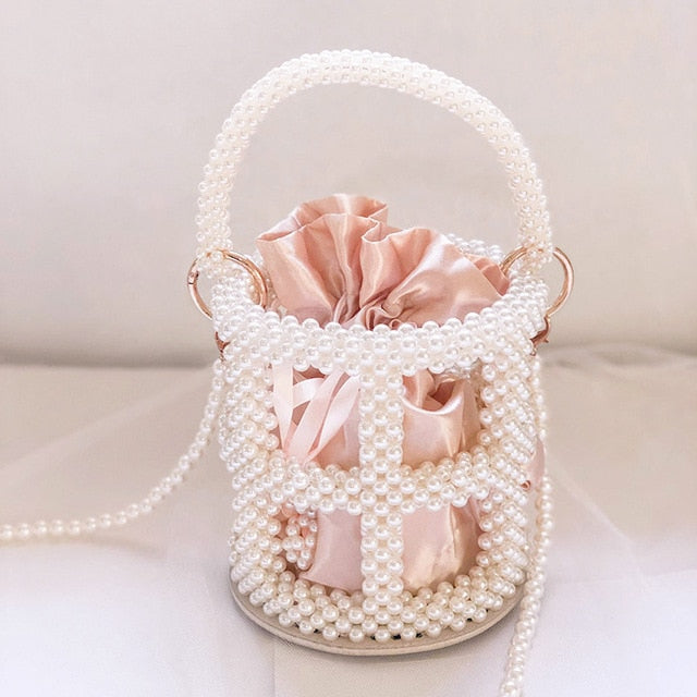 Beaded Hollow 3D Bucket Handbag