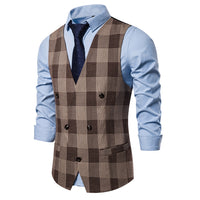 Elegant Double-Breasted Plaid Vest