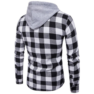 Check Hooded Long Sleeve Shirt