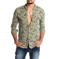 Flock Collarless Button-Down Shirt