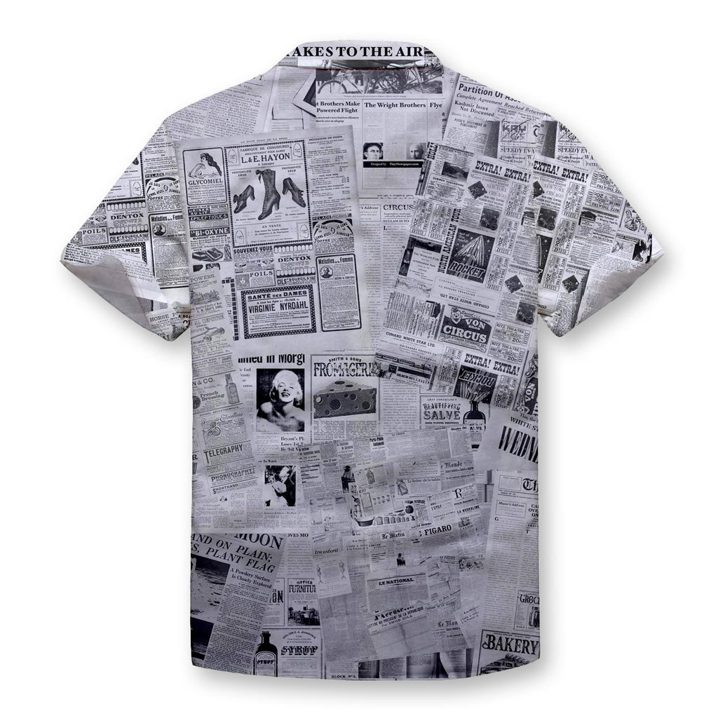 Newspaper Pattern Button Shirt