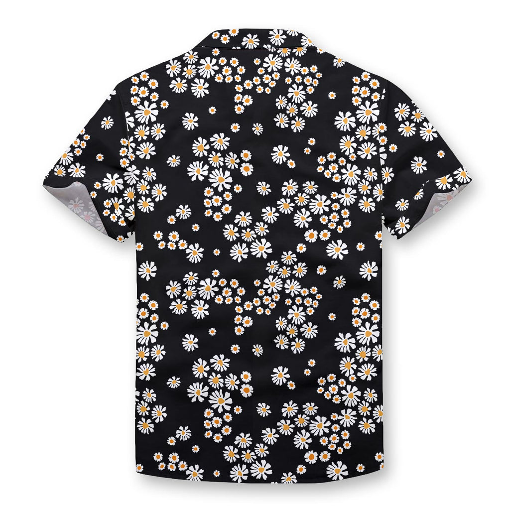 Black Daisy Pattern Button Shirt