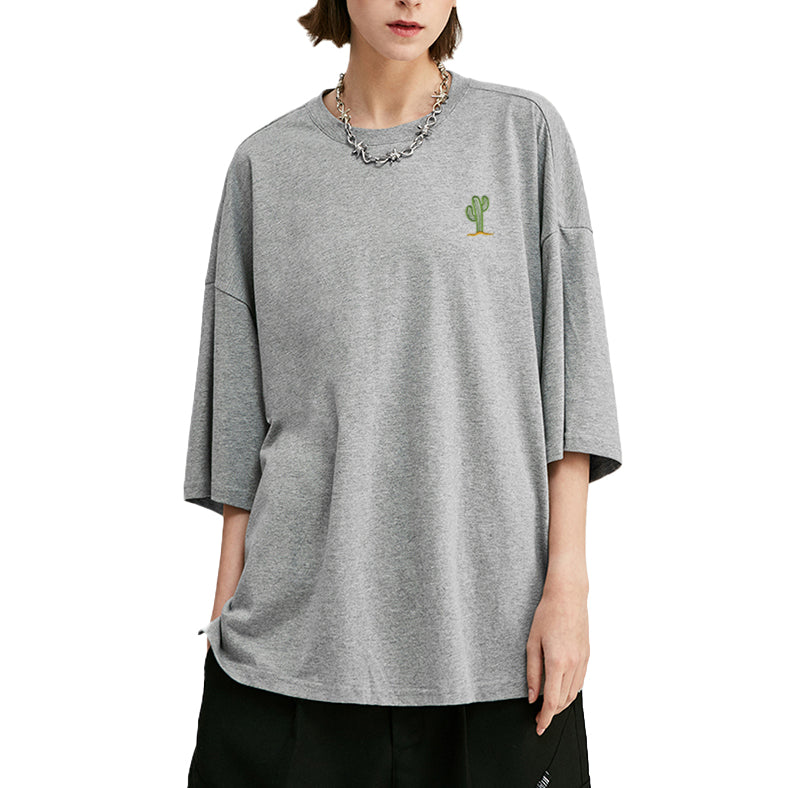 Cactus Embroidered Oversized T-Shirt