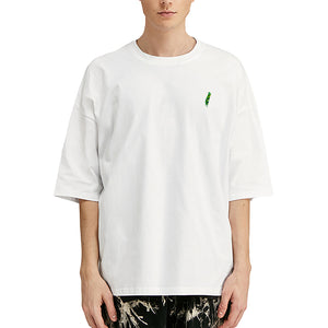 Green Feather Embroidered Oversized T-Shirt