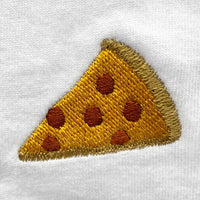Pizza Embroidered V-Neck T-Shirt