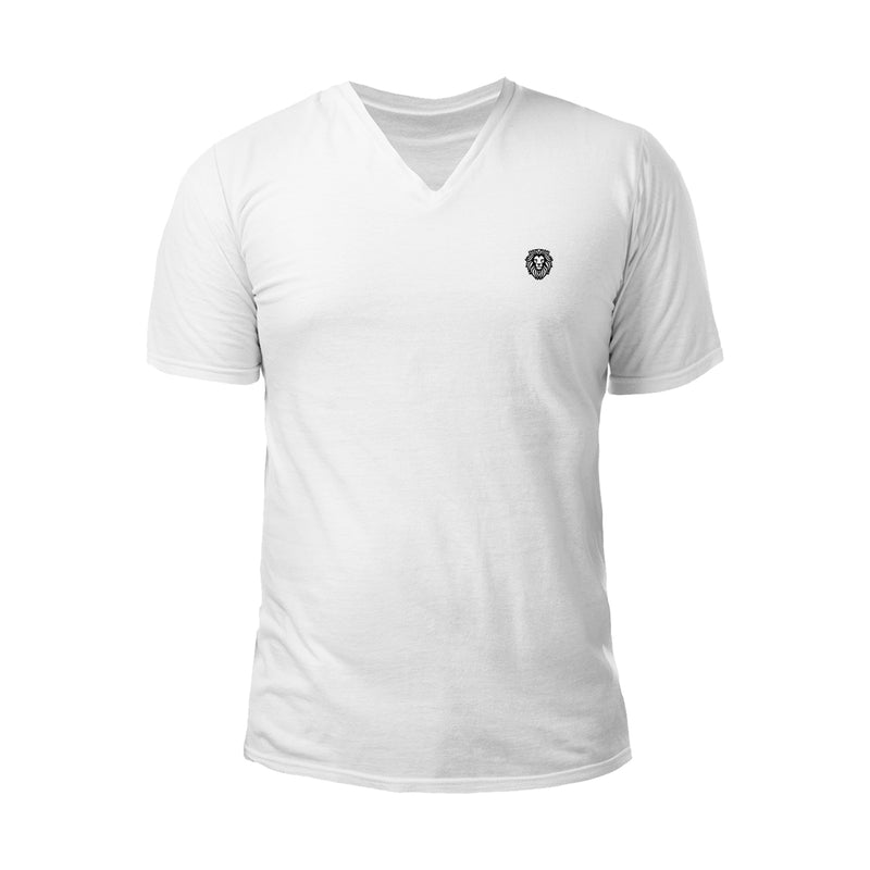Lion Symbol Embroidered V-Neck T-Shirt