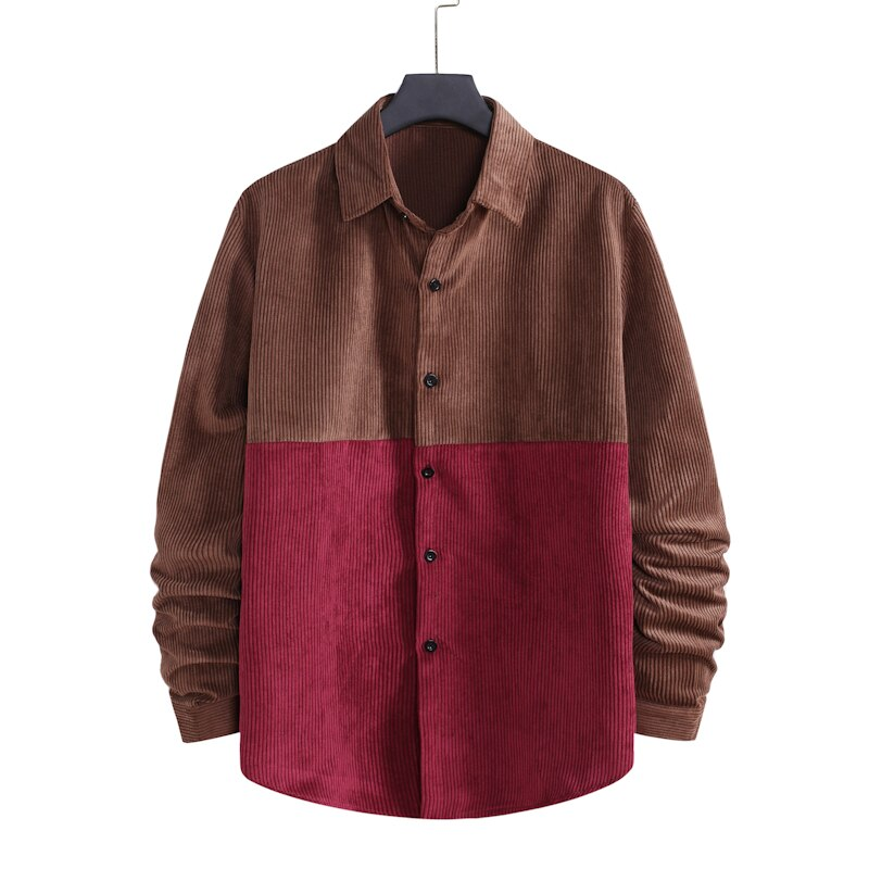 Contrasting Color Corduroy Button Shirt
