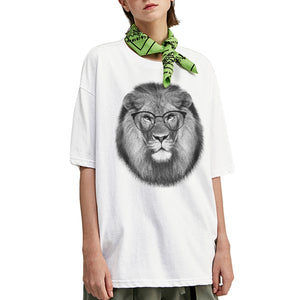 Round Glasses Lion Oversized T-Shirt