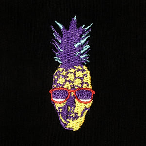 Pineapple Skull Embroidered T-Shirt