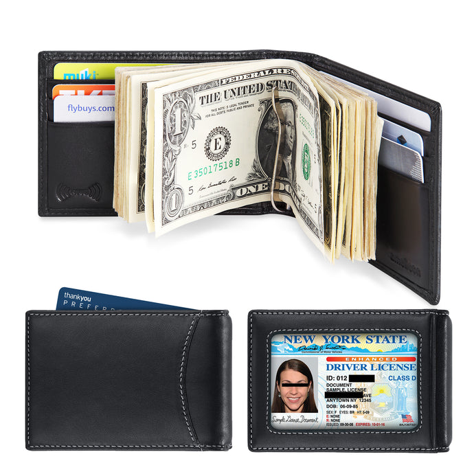 Mens Leather Bifold RFID Blocking Money Clip Wallet, Front Pocket Wallet with Money Clip