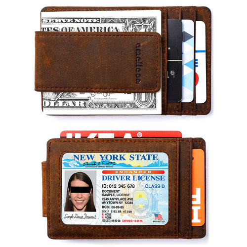 Mens Leather Magnetic RFID Money Clip Wallet, Front Pocket Wallet with Money Clip