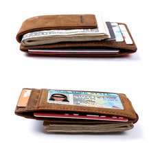 Load image into Gallery viewer, Mens Leather Magnetic RFID Money Clip Wallet, Front Pocket Wallet with Money Clip