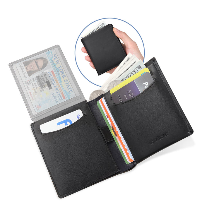 Trifold Bifold RFID Blocking Men's Wallet- Genuine Leather Handmade SLIM Wallets for Men