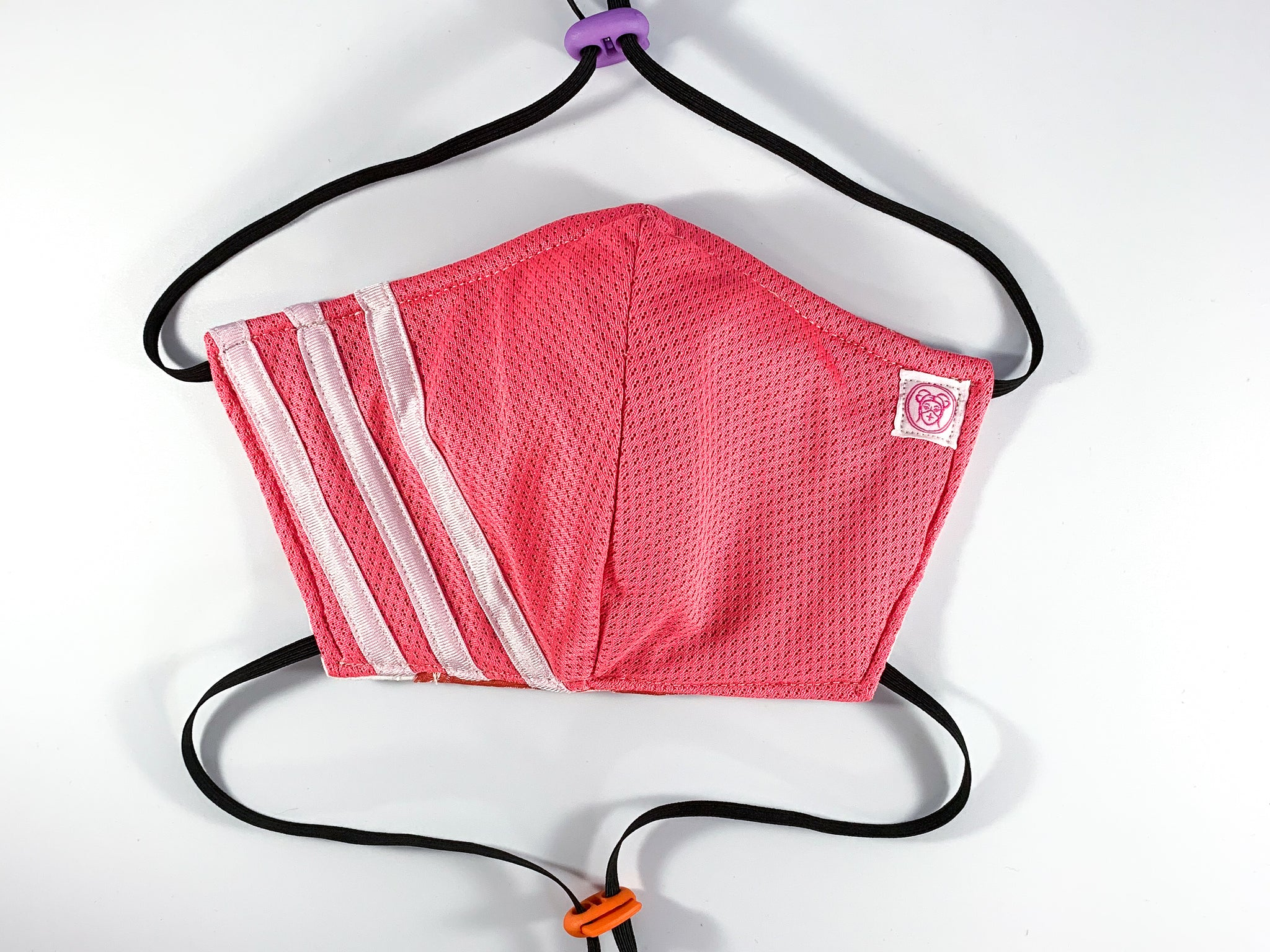 Upcycled Adidas Face Mask (Pink / Coral)
