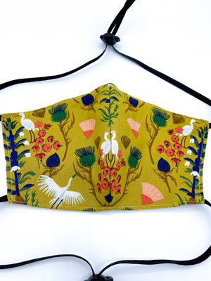 Floral Cranes Mask - 100% ORGANIC COTTON