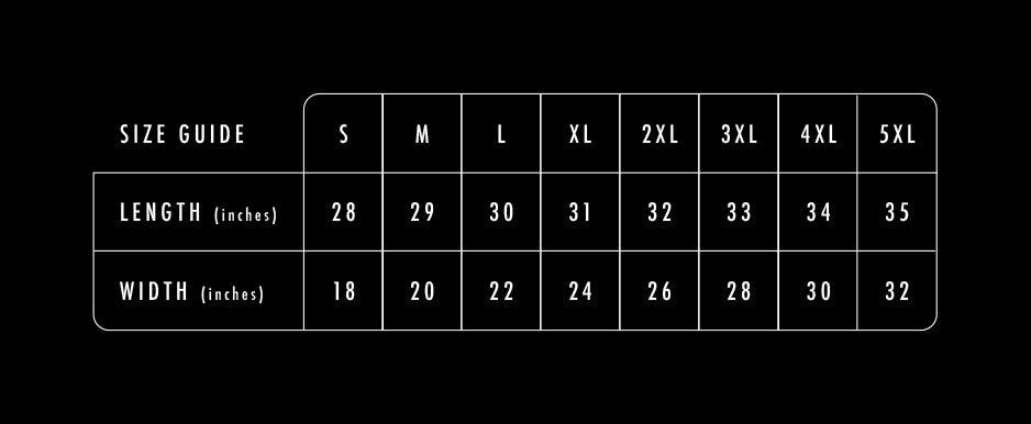 yomp notes shop site tee shirt sizes guide