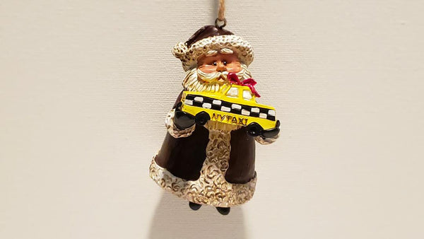 santa holding a taxi, NYC Christmas ornament decorations
