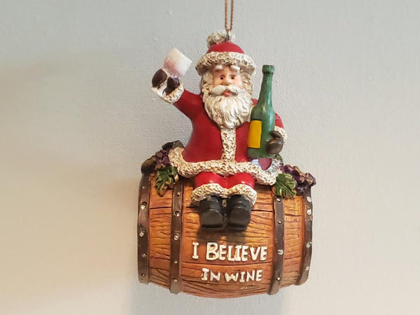 I Believe in Wine Santa Christmas Ornament