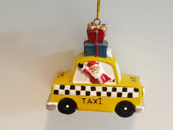 Santa on a New York taxi, NYC Christmas ornament decorations