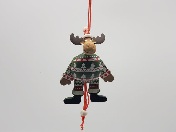 Wooden pulling strings toy inspired Christmas, Christmas ornament