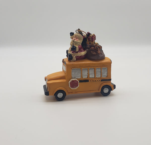 Santa on A School Bus Christmas ornament