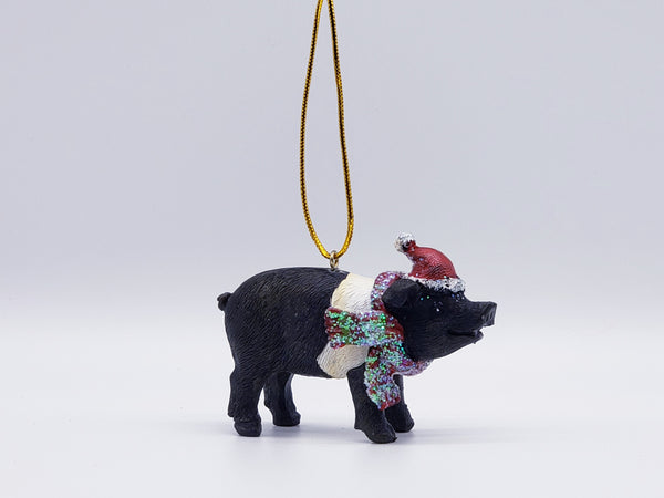 pig with a Santa hat, Christmas ornament