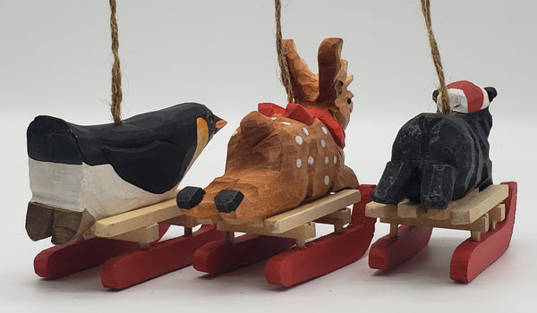 Christmas wooden sled ornaments, Christmas ornament