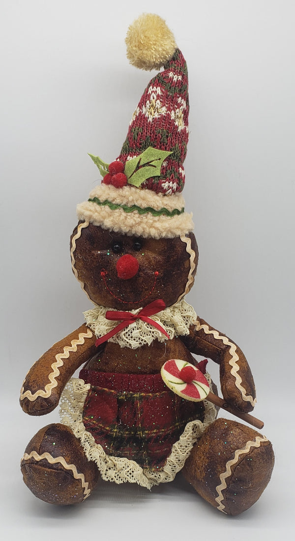 Fluffy Christmas Gingerbread Boy & Girl Decoration
